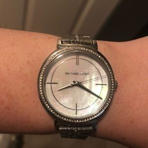 Michael Kors silver/pearl watch w/ accent diamonds